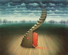 "Jacek Yerka (1952-) ""Scene Under the Stairs"" Surrealism"