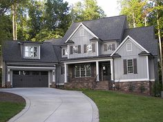 Defining line on house where yard slopes down. Notice porch and steps carry the line Exterior Paint Colors For House, Paint Colors For Home, House Colors, Vertical Siding, American Houses, Unique House Design, House 2, Residential Architecture, House Painting
