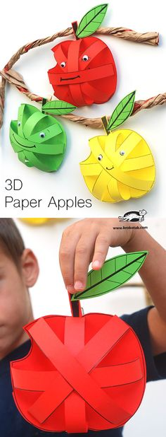 Paper Apples for a preschool or kindergarten Apple Unit Apple Activities, Autumn Activities, Preschool Activities, Children Activities, Preschool Learning, 3d Paper, Paper Crafts, Paper Toys, September Crafts