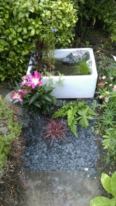 83 best old sink planters images in 2017 Garden Pond, Garden Planters, Belfast Sink Garden, Old Sink, Small Ponds, Good Old, Stepping Stones, Water, Outdoor Decor
