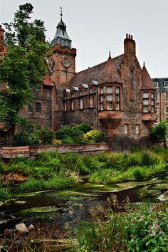 Explore the Dean Village in Edinburgh, Scotland.