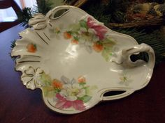 Vintage PS lemon Dish, Flower Plate, With A Handle