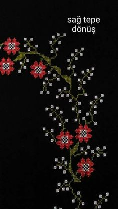This Pin was discovered by Ünz Ribbon Embroidery, Cross Stitch Embroidery, Embroidery Patterns, Cross Stitch Patterns, Cross Stitch Boards, Cross Stitch Love, Mantel Azul, Welcome Flowers, Palestinian Embroidery