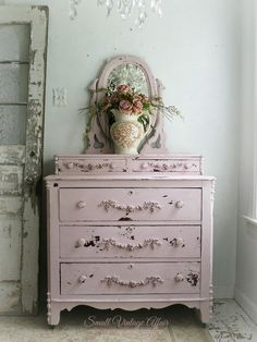 C H I P P Y Pink Dresser with Mirror Shabby Chic Pretty Beach Cottage Nursery on Etsy, $1,398.00