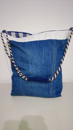 large upcycled jeans denim tote