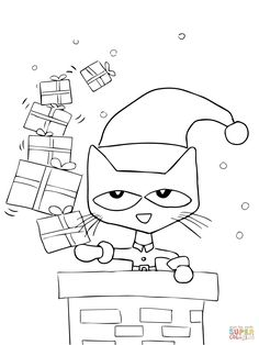 Pete the Cat Saves Christmas Coloring page | SuperColoring.com