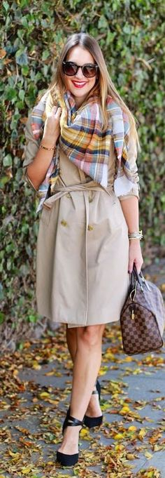 winter fashion / beige trench coat