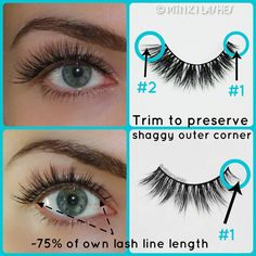 Should you trim Minki Lashes from the inner or outer or both corners of the lash band? CLICK on the image to read TIP #2. #MinkiLashes styles used in this collage: #TeaseMarquise & #RoyalFlirt #mink #eyelashes #false #lashes #eyes #makeup #beauty #tips #hacks #how #tutorial
