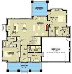 4 Bed Storybook Bungalow House Plan - 18280BE floor plan - Main Level
