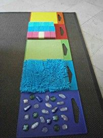 Awesome sensory activity for preschool or toddler kids. Make a sensory walkway!Tap the link to check out great fidgets and sensory toys. Check back often for sales and new items. Happy Hands make Happy People! Sensory Wall, Sensory Boards, Sensory Board For Babies, Diy Sensory Toys, Sensory Toys For Autism, Baby Sensory Play, Diy Toys, Infant Activities, Preschool Activities