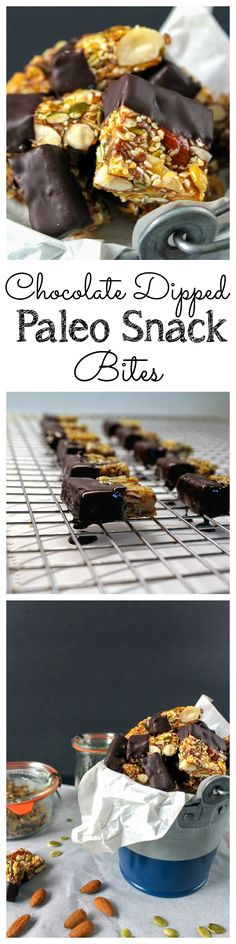 These bite-sized snack bars are filled with nuts and seeds and held together with honey. These are great for those on Paleo or clean eating diets! Gluten free too! Chocolate Dipped Paleo Snack Bars Recipe Take Two Tapas Paleo Dessert, Paleo Snack, Paleo Bars, Low Carb Dessert, Healthy Sweets, Healthy Snacks, Paleo Diet, Dinner Healthy, Dessert Bars