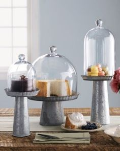 LOVE these! galvanized cake stands