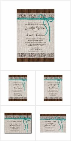Rustic Turquoise Wedding Invitation Set - Looking for rustic turquoise wedding invitation sets? Then this kit, featuring a burlap and lace design with turquoise twine on dark brown barn wood, is perfect for you! Included are: save the date cards and postcards, wedding invitations, a rehearsal dinner and reception invitation, RSVP cards, Thank You cards and various enclosures - Explore this Amazing Set Today !