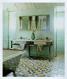 Italian antique tile bathroom floor -might be the new trend in flooring, I predict.