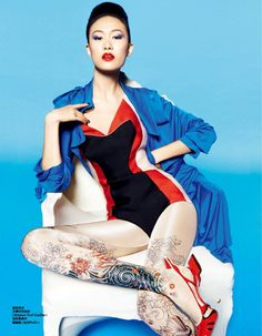 Prada Bodysuit - Supermodel Shu Pei is featured in ELLE (China) magazine