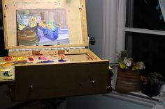 Last flowers on the easel, in my studio, on the windowsill.