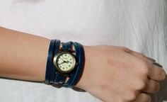 Navy Blue Leather Wrap Watch with Antique Gold Watch Face. $27.99, via Etsy.