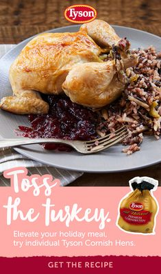 Tyson Cornish Hens make a perfect holiday dinner that will wow your family and friends. Tap the Pin to get the recipe. Pork Chop Recipes, Keto Recipes, Chicken Recipes, Dinner Recipes, Cooking Recipes, Healthy Recipes, Cornish Hen Recipe, Cornish Hens, Good Food