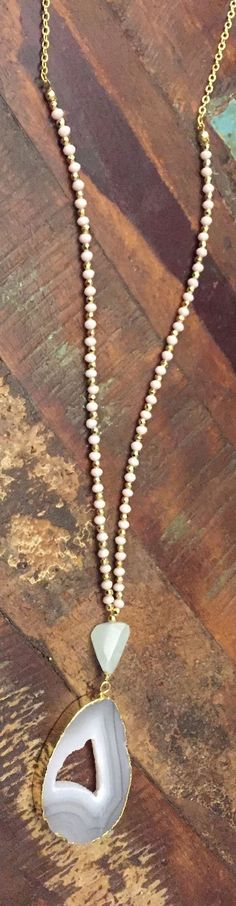 Spring Agate Beaded Long Necklace
