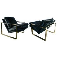 Pair of Milo Baughman Brass Hair Cowhide Square Framed Arm Chairs | From a unique collection of antique and modern lounge chairs at http://www.1stdibs.com/furniture/seating/lounge-chairs/