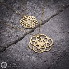 Geometric necklace gold necklace tree of life necklace by ByYaeli