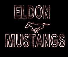 ELDON MUSTANGS BLING LOGO Rhinestone bling shirt Blingitallover@gmail.com www.facebook.com/Blingitallover