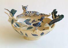 Blue Cat and Bird Bowl by Helen Kemp