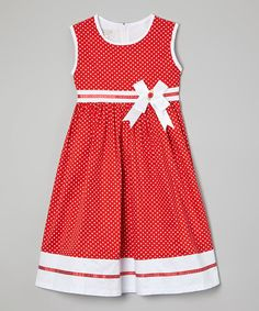 Love this Red Polka Dot Sash A-Line Dress - Toddler & Girls by Richie House on #zulily! #zulilyfinds