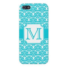 Aqua Blue Monogrammed Damask iPhone 5 Case    Elegant aqua blue and white damask pattern inspired by the Victorian era, with an easily customizable monogram. Chic birthday gift for the girly girl who loves trendy monogrammed graphic patterns.