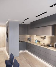 First Class Family Home With Blue, Pink And Gold Decor Kitchen Room Design, Modern Kitchen Design, Kitchen Interior, Modern Interior, Kitchen Decor, Modern Kitchens, Küchen Design, Home Design, Design Trends