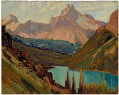 """""""Cathedral Peak and Lake O'Hara,"""" J.E.H. MacDonald, 1927, oil on panel, McMichael Canadian Art Collection."""