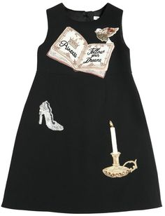 Princess Embellished Crepe Cady Dress Round neckline. Sleeveless. Concealed back zip closure . Patches embellished with beads, embroidery and sequins. Swarovski crystals . Patch placement may vary slightly . Front and back darts. Fitted waist . Knee length. Satin lining. Mini Me: Kids' version inspired by the adult collection