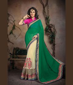Green Georgette Half and Half Saree With Blouse 66651