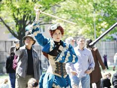A 19th Century festival brought Victorian fashions and martial arts to Park Slope. Here, a demonstration of bartitsu, the 19th century martial art practiced by Sherlock Holmes. PHOTO CREDIT: Babette Daniels
