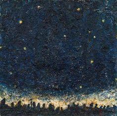 Nächtlicher Zug / Night train by Gunter Damisch. Oil on Canvas. Chef D Oeuvre, Oeuvre D'art, Night Train, Paper Moon, Objet D'art, Nocturne, Vincent Van Gogh, Night Skies, Night Time