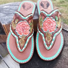 d347789d3 Custom sandals with some beautiful colors! Leather Crafts