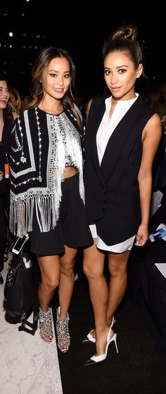 Jamie Chung and Shay Mitchell at the BCBG Max Azria Spring 2015 runway show.