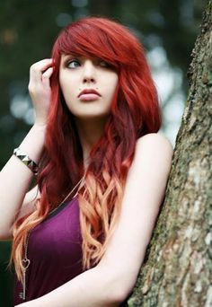 Hot Red to Blonde Dye-Dip Hair Style