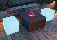 Illuminate your garden with this stunning multicoloured outdoor LED cube light up table by German high end designer- Moree. The Cube table also doubles as a seat and makes a striking focal point for any living space.