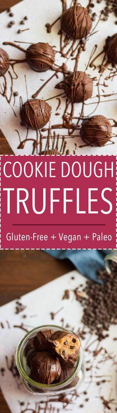 Love these!! Healthy chocolate chip cookie dough truffles. (Vegan, Gluten Free, Paleo)