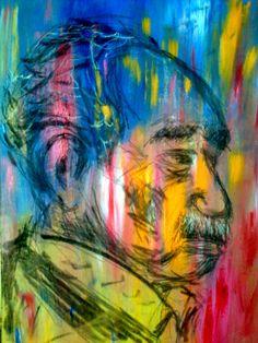 Una idea, mucho arte Gabriel García Márquez Acrílico y carbonilla, 35 x 45 cm Autor Yamandú Aguilera