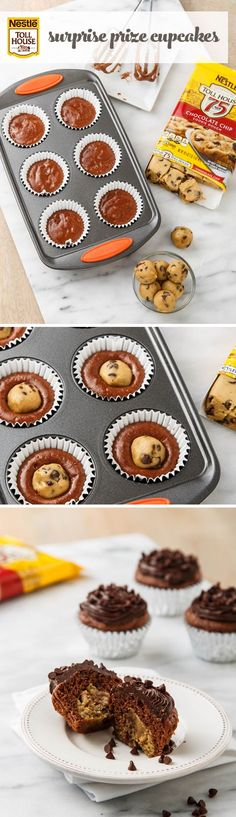 Surprise Prize Cupcake Who doesn't love a delicious cookie surprise?! Give your favorite chocolate cupcakes a Nestle Toll House Refrigerated Chocolate Chip Cookie Dough center for an amazing treat inside a treat!