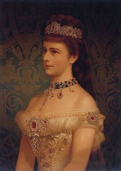 Sisi wearing a ruby tiara and jewels. Elisabeth of Austria (due to the movie also known now as Sissi, Sisi Museum, Vienna Adele, Empress Sissi, Princess Elizabeth, Herzog, Royal Jewels, Historical Clothing, 1800s Clothing, Woman Painting, Royal Fashion