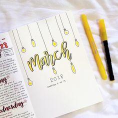 light bulb bullet journal layout idea
