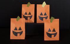 Jack-O'-Lantern Paper Bags - #halloween