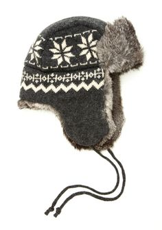 5d88f306b48 CROWN CAP Lambswool Knit Snowflake Aviator Designer Collection
