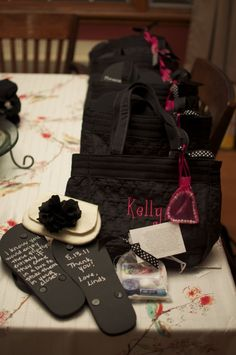 bridesmaids >>The poem reads: This Survival Kit was made just to say    I'm thrilled you're beside me on my wedding day!    There's chocolate to give you that sugar high    And a packet of tissues in case you should cry.    Lip gloss to help you care for your smile.    If a nail should break, I've included a file.    There is Shout if you should spill on your dress    and lifesavers to keep your breath minty fresh.    There's Aleve and Tums if it's ill that you feel    and Band-aids to help…