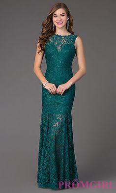 Lace Floor Length Sleeveless Dress 4155 at PromGirl.com