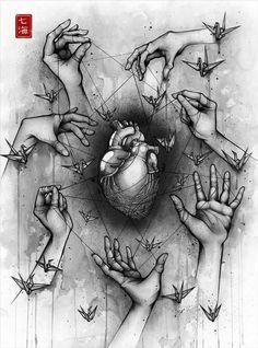 Delicate Balance - Detailed Ink Drawings by Nanami Cowdroy Dark Art Drawings, Pencil Art Drawings, Art Drawings Sketches, Cool Drawings, Deep Art, Medical Art, Sad Art, Anatomy Art, Art Sketchbook