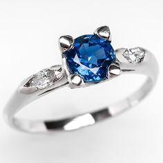 VINTAGE BLUE SAPPHIRE ENGAGEMENT RING W/ MARQUISE DIAMOND ACCENTS PLATINUM